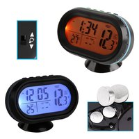 Useful Thermometer Voltmeter Voltage Detector Battery Voltage Measurement Temperature Alarm Clock LCD Digital Display For Car
