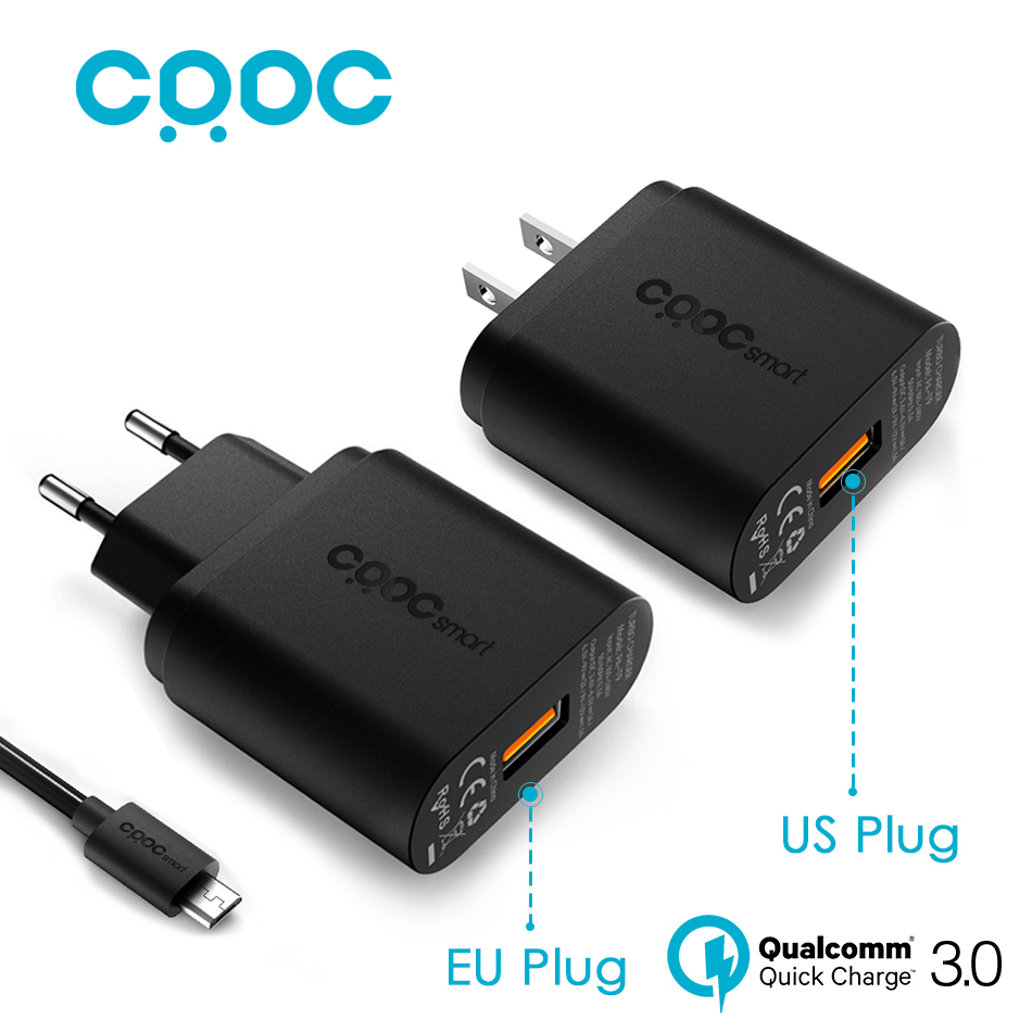 CRDC Wall Charger EU US Plug USB Charger Quick Charge 3 0 Mini Auto Travel Charging