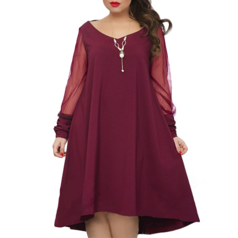 2018 Autumn Dress Women Sexy V Neck Long Sleeve Mesh Pathwork See Through Party Dresses Casual Loose Vestidos Plus Size