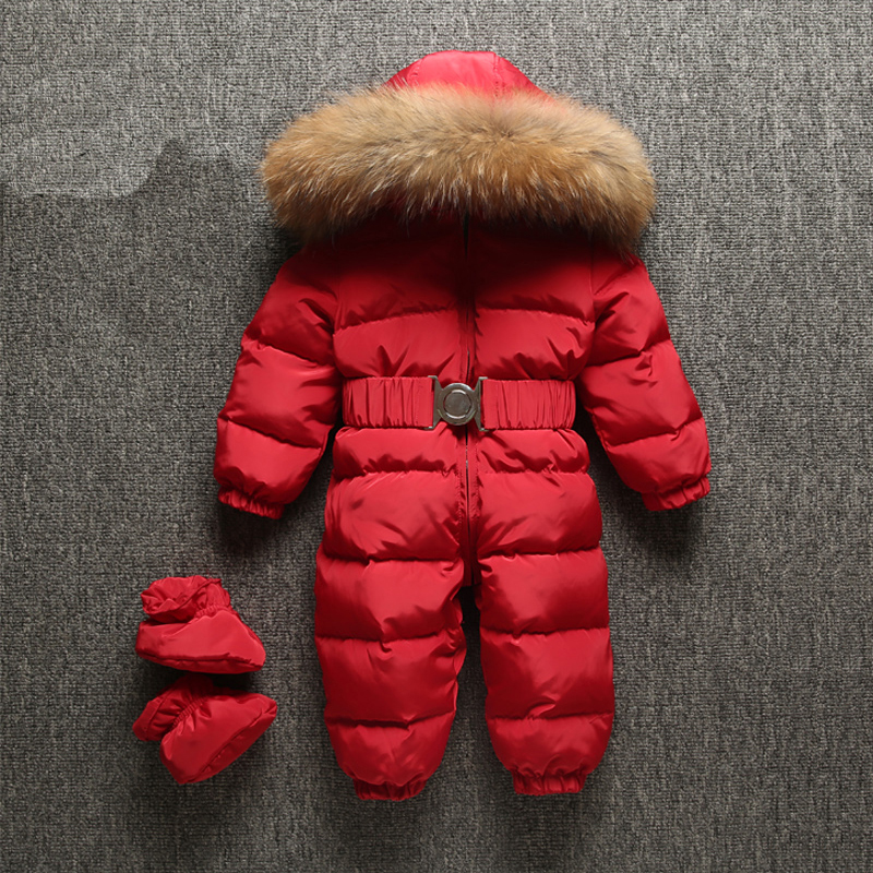 Dollplus 2018 Winter Baby Rompers Jumpsuit Clothes Children Overalls Duck Down Toddler Kids Boys Girls Fur Hooded Warm Romper kindstraum baby down rompers for russia winter toddler kids warm overall trousers duck down boys girls jumpsuit waterproof mc888