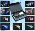 50 unids/lote LOGOTIPO Personalizado crystal LED de Luz usb 2.0 de memoria flash stick pen drive con caja de embalaje negro