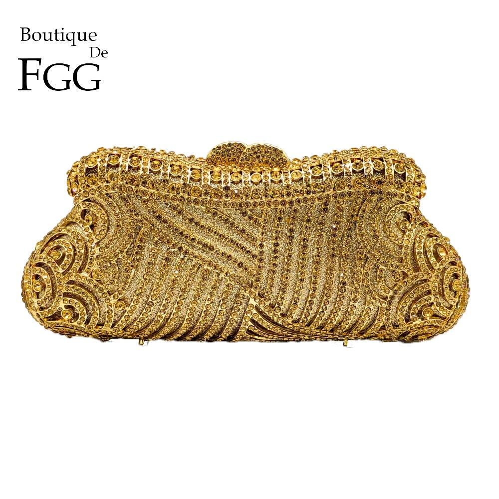 Boutique De FGG Élégant Évider Femmes Cristal D'embrayage De Soirée Sacs À Main Sac De Mariage Cocktail Diamant Minaudière Sac À Main