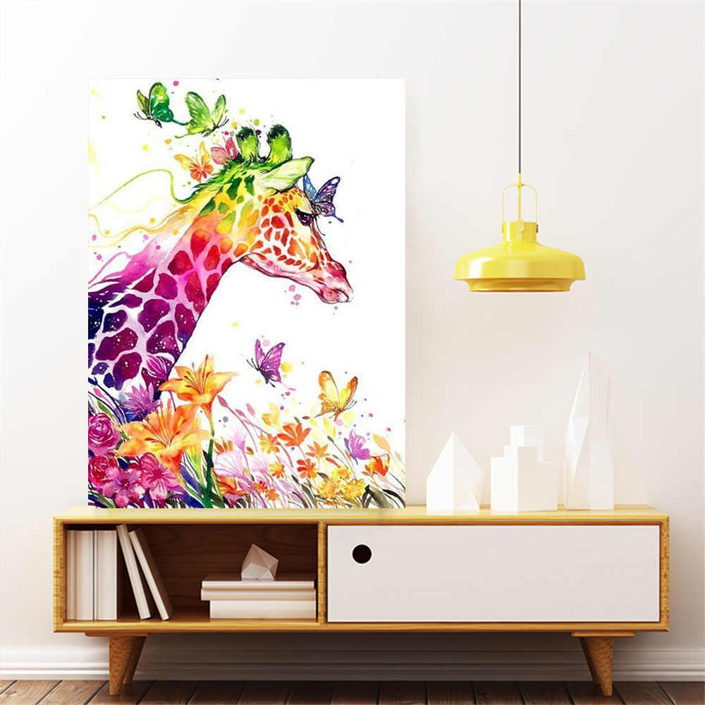 Huacan Giraffe Diy 5d Diamant Schilderij Vol Plein Animal Strass Foto Diamant Borduurwerk Mozaïek Vlinder Home Decoratie
