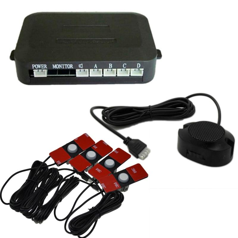 imágenes para Aparcamiento Sensores Parktronics 4 Negro/Plata/Blanco 13mm Plana Sonido Zumbador Sensores Radar de Reserva Reverso Sonido ajustable