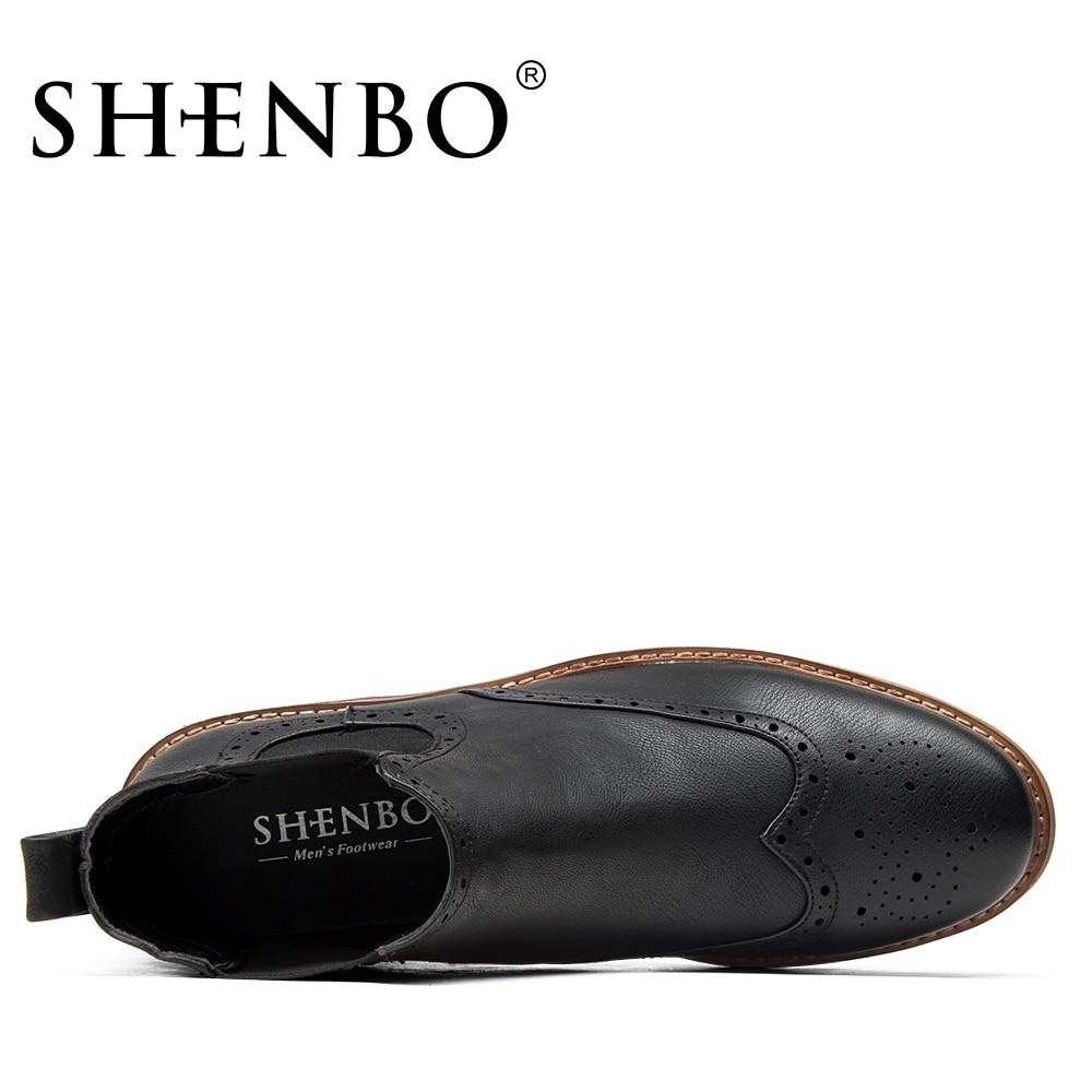 a112da8668709 US $71.21 |SHENBO Marke Mode Brogue Komfortable Männer Stiefel, klassische  Retro stil Schwarze Stiefeletten, beliebte Coolen Boots Für Männer in ...