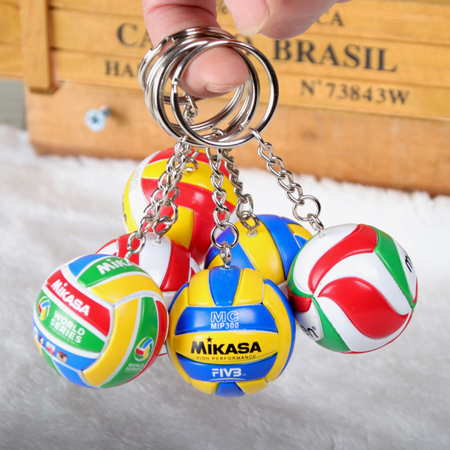 10 piezas deporte playa voleibol PVC llavero llaveros cadena anillo Fútbol Playa bola llavero regalos hombres joyería llavero llaveros