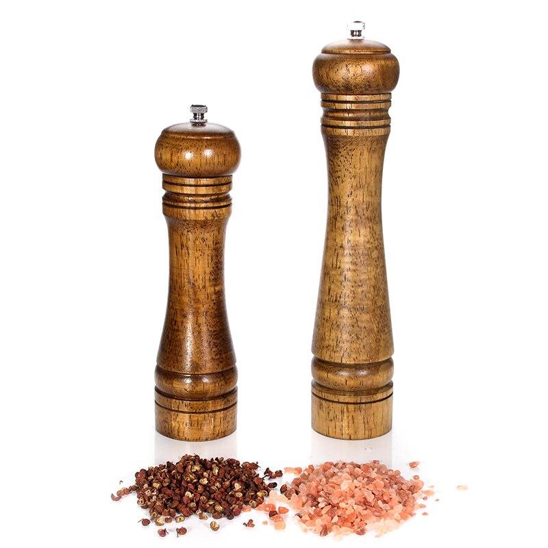 Salz und Pfeffer Mühle, solide Holz Pfeffermühle mit Stark Einstellbare Keramik Grinder küche zubehör set von 2 (8, 10 zoll)