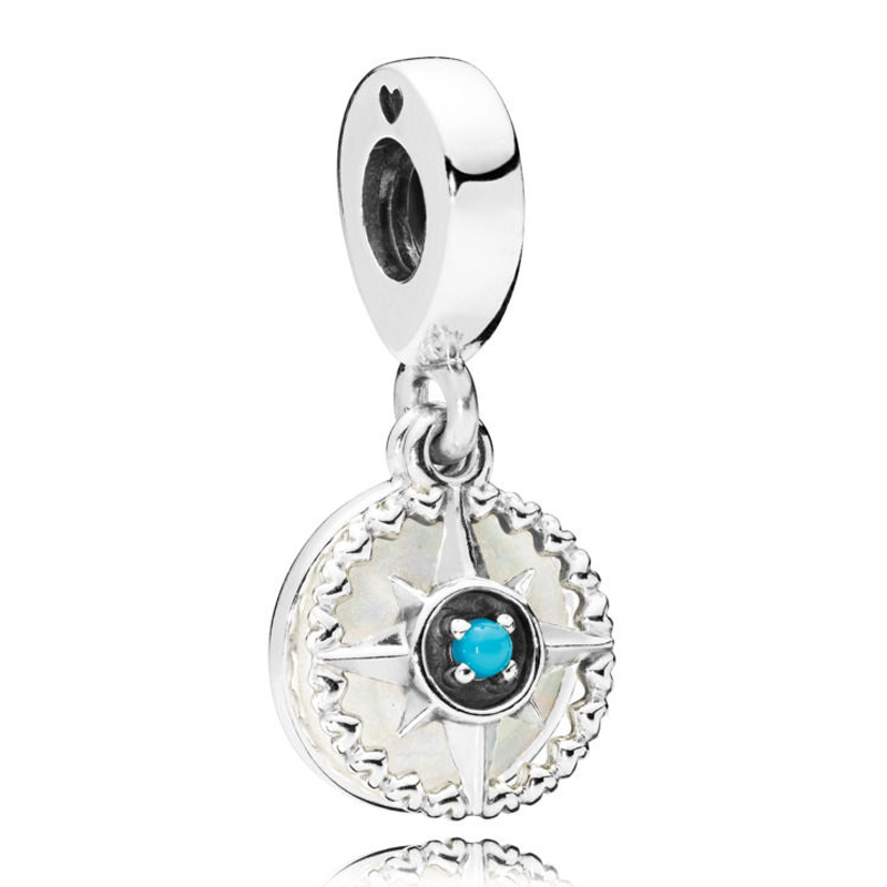 New 925 Sterling Silver Bead Charm Silver Enamel Compass Rose With Blue Crystal Pendant Beads Fit Pandora Bracelet Diy Jewelry strollgirl car keys 100% sterling silver charm beads fit pandora charms silver 925 original bracelet pendant diy jewelry making