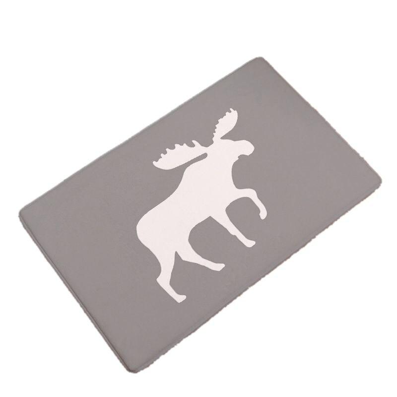 Creative Deer Print Flannel Soft Carpets Non-slip Bathroom Mat Kitchen Rugs Livingroom Mats Doormat Home Decor