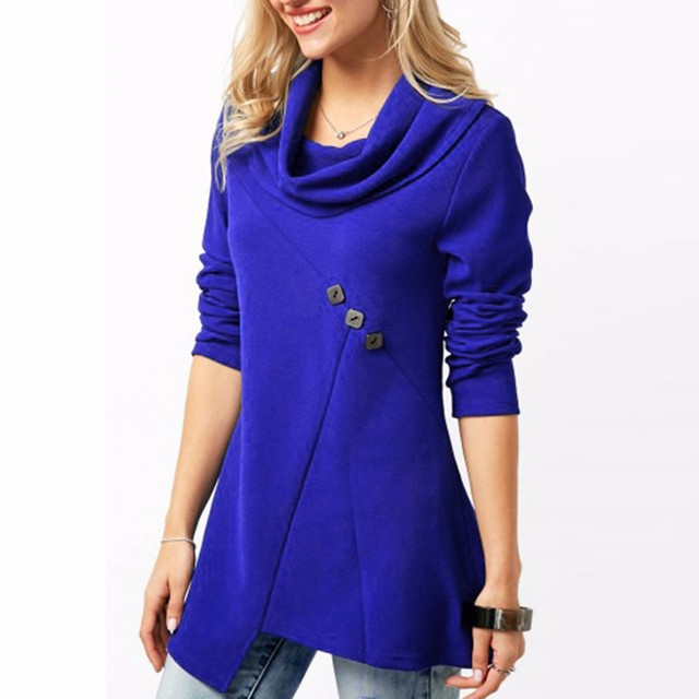 dc6b55e2558 New Fashion Women's Shirts Cowl Neck Button Embellished Royal Blue Colour  Casual Shirt Ladies Tops Soft