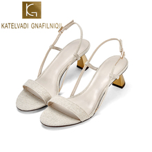 KATELVADI 2019 Hot Women Summer Sandals 5CM High Heels Shoes Beige Cotton Fabric Thick Heeled Party Dress K-401
