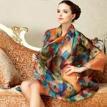 цена на Women Genuine Silk Scarves 100% Mulberry Silk Scarf Shawls Fashion Printed Large Size 175cm x 110cm Sunscreen Neckerchief FW398