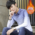 Camisas Dos Homens Da Moda inverno Manter Quentes Adicionar Lã Chateado Completo Principal Tipo Fino de manga comprida Camisa Gradiente Tendências Cinza Marinho Verde 9836