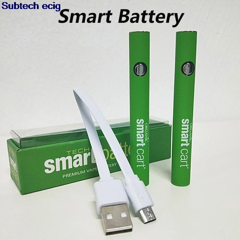 Mais novo Smart Cart Caneta Vape Bateria 510 Cartuchos de Rosca 380mah Tensão Variável Pré Smartcart Baterias com Carregador USB