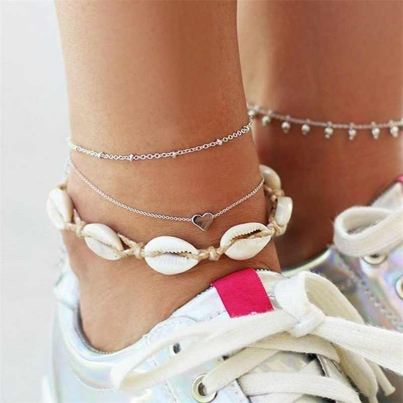 Kisswife в богемном стиле 3 шт./компл. в богемном стиле, в стиле ретро в виде ракушки подвеской в форме сердца, цепочка с крупными серебристыми Для женщин Шарм пляж анклет (браслет на ногу Модные украшения