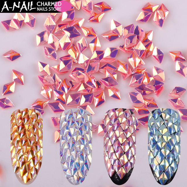 12 Colors/set Chameleon AB Color Nail Sequins Triangle Rhombus Colorful Glitter Flakes Paillette Manicure 3D Nail Art Decoration