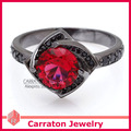 Carraton RSQD1080 Red Cubic Zirconia Black Plated Genuine 925 Silver Ring