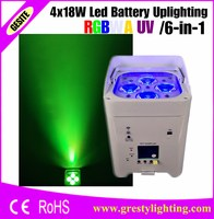 24pcs/lot with 2 pcs 12 in 1 charge flight case Core 4*18W 6in1 RGBAW UV Battery Powered Wireless LED UPLIGHT WITH APP Mobile