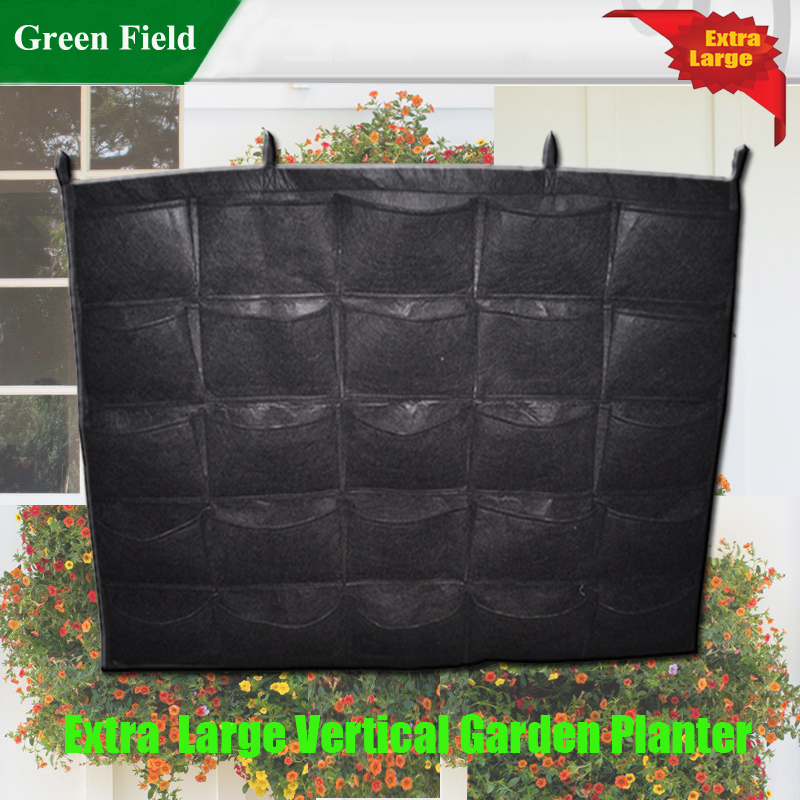 Florafelt Living Wall Planter Vertical Garden Planter 25 Pocket 32 In X  52in (Stack To Create Any Size Living Wall) Green Field In Flower Pots U0026  Planters ...