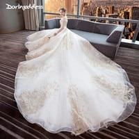 Vestidos De Novia 2018 Luxury Ball Gown Muslim Wedding Dress With Gold Lace Embroidery Beaded Half