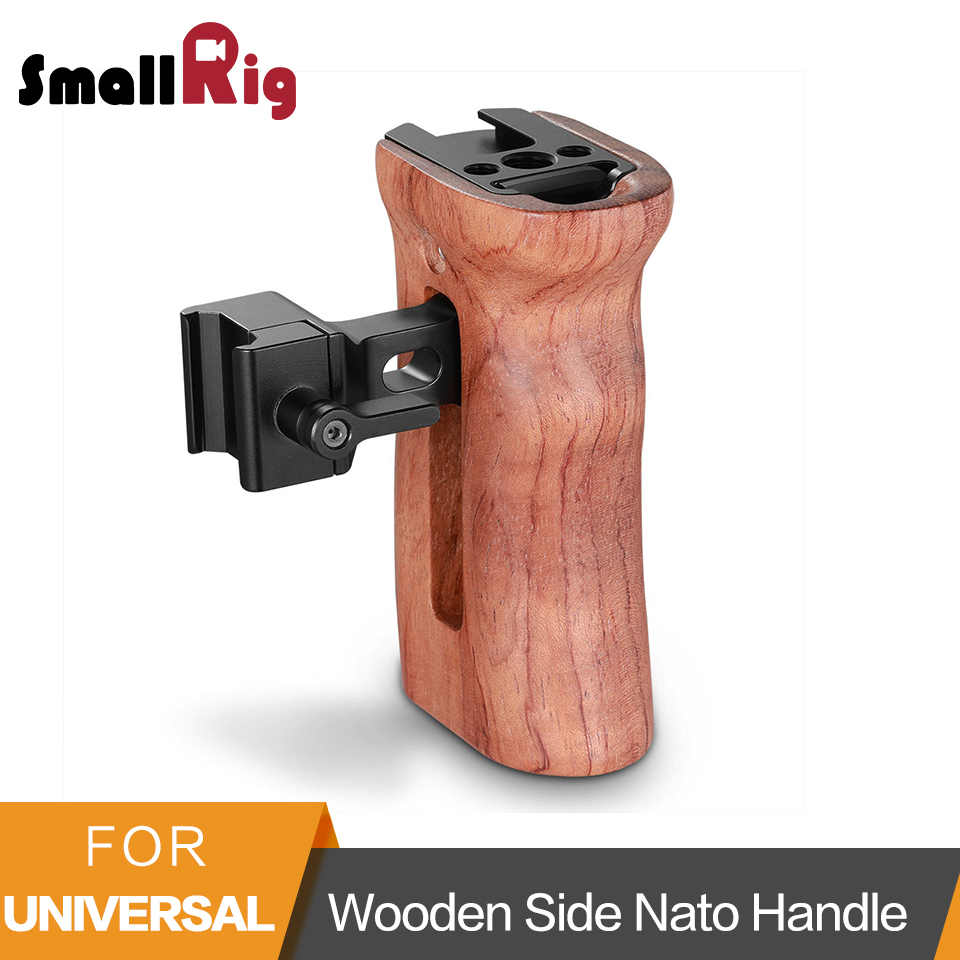 SmallRig Wooden Hand Grip Side Nato Handle For Universal Camera Cage Featuring Nato Rail On The Side DSLR Camera Handle -2187