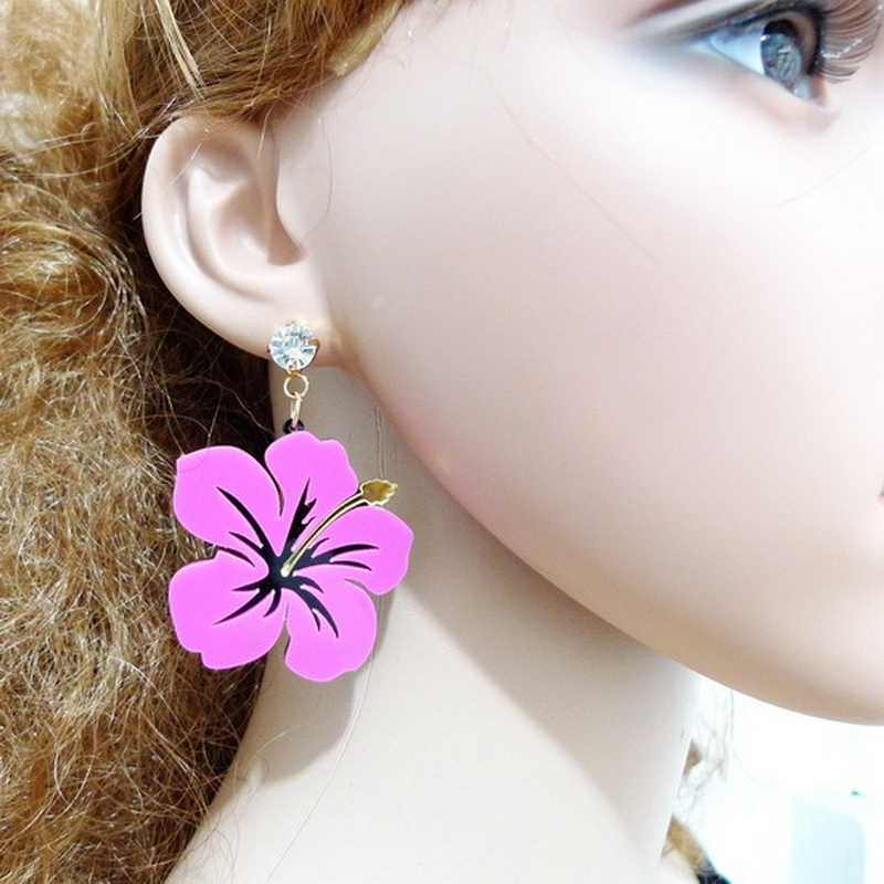 Pink Hibiscus Earrings Little Flowers Earrings Cute Stud Earrings Fashion Acrylic Acessories