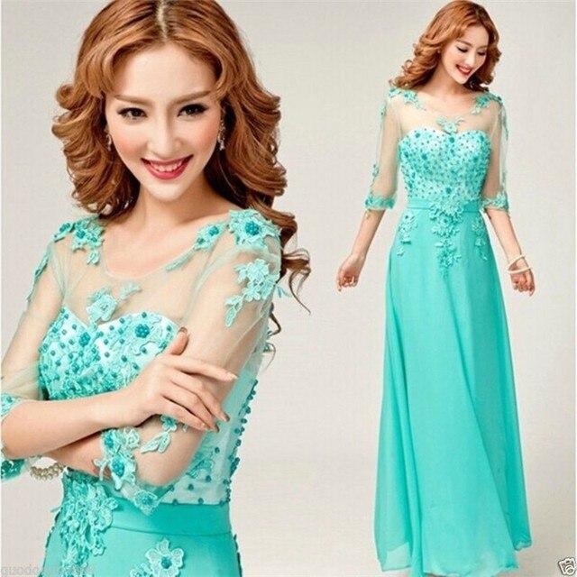 Country Style Mint Hijau Bridesmaid Dresses 2015 Setengah Lengan