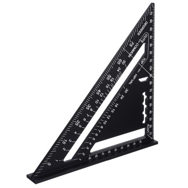 7-дюймовая метрическая система, треугольная линейка, алюминиевый сплав, скоростная квадратная кровельная треугольная линейка, черная измер...