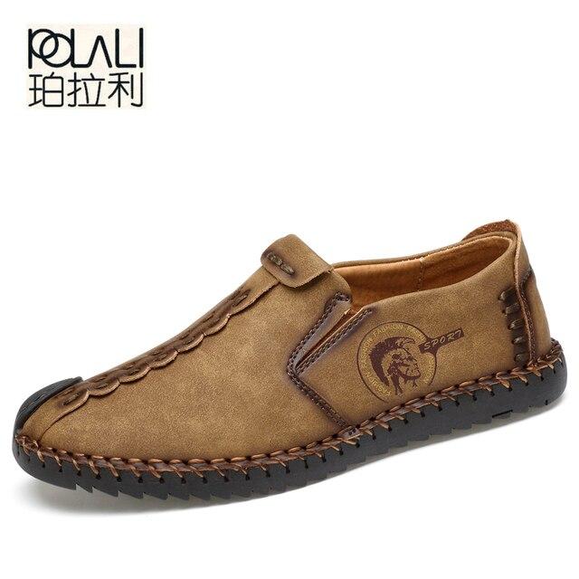 45ff4c8274 POLALI 2019 Novos Sapatos Casuais Confortáveis Mocassins Homens Sapatos de  Qualidade Sapatos De Couro de Divisão Dos Homens Apartamentos Sapatos  Mocassins ...