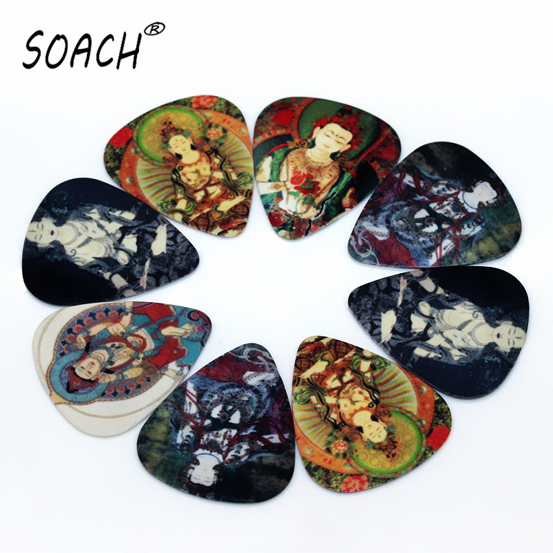SOACH 10pcs 0.46mm Guitar Picks Pick Guitar Paddle PVC Double-sided Printing Buddha Pattern String Instrument Accessories