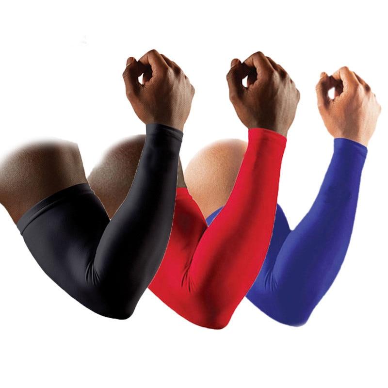 1 par de alta calidad apoyo de apoyo de baloncesto alargar mangas del brazo Guardia de seguridad de los deportes cojines de codos calentadores