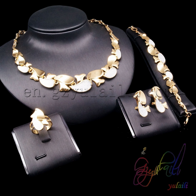 Yulaili gold necklace earrings ring bracelet four jewelry sets hot