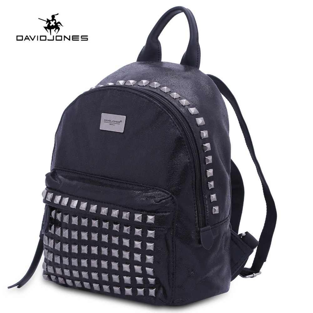 f768f50fb7 DAVIDJONES women backpacks pu leather female shoulder bags big lady rivet  school bag girl brand teenager
