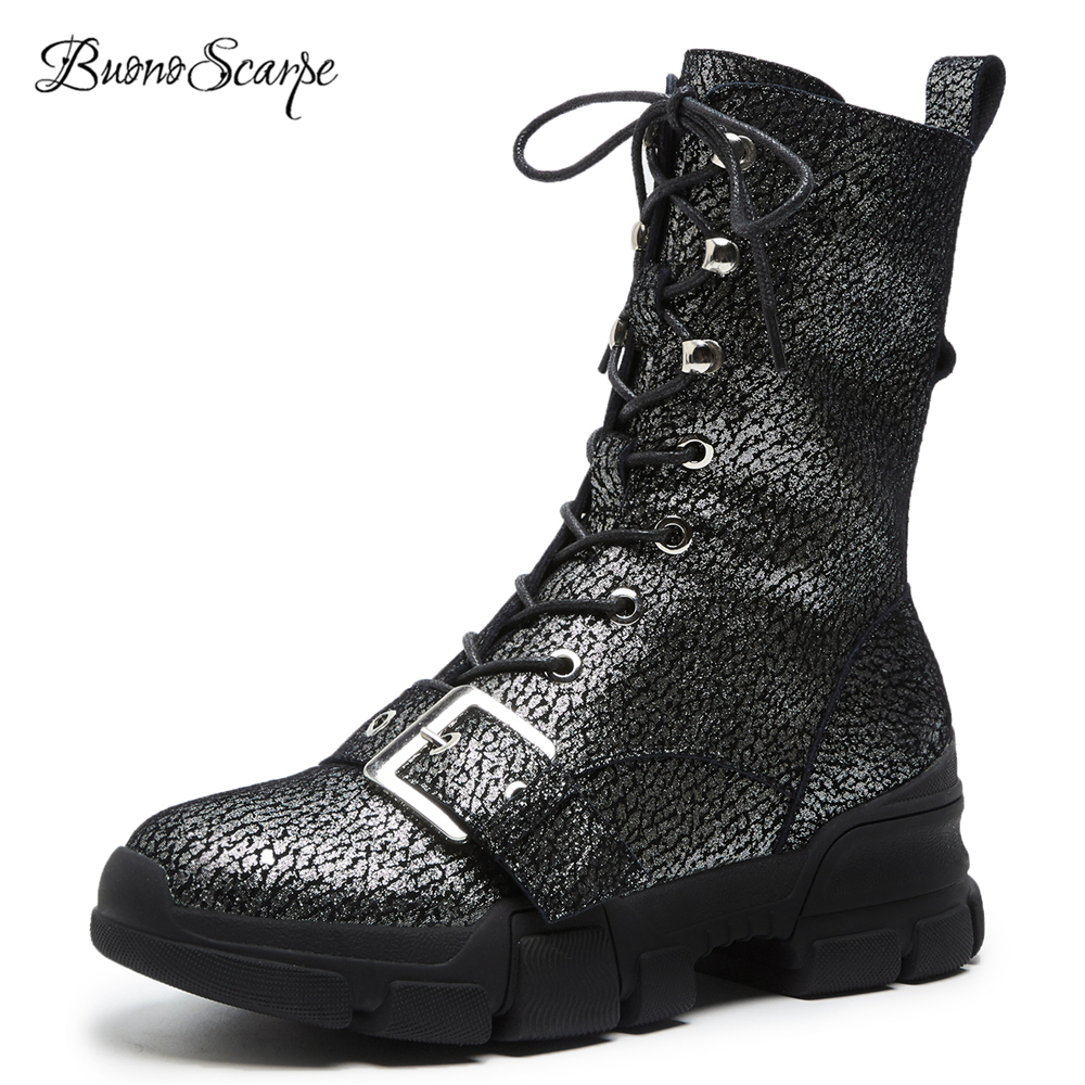 BuonoScarpe Women Vintage Autumn Winter Lace Up Riding Boots Round Toe Big Buckle Zipper Mid Calf Botas Thick Sole Zapatos Mujer vintage steampunk alloy buckle lace up corset for women