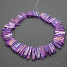 Фотография Purple Crystal Titanium AB Healing Crystal Quartz Beads Top Drilled Point Pendant, Rock Quartz Crystal Women Fine Jewelry Making