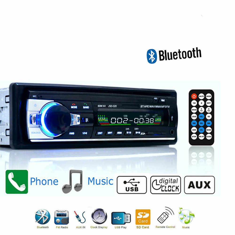 รถวิทยุ 1din รถสเตอริโอบลูทูธเพลง MP3 วิทยุ FM Aux Input Receiver SD USB MP3 ผู้เล่น universal JSD520