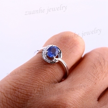 Oval Cut 0.96ct Natural Blue Sapphire Solid 14k White Gold Diamonds Fine Ring Women Elegant Engagement Ring