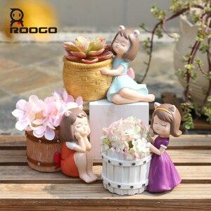 Image 4 - Roogo 樹脂植木鉢アメリカンスタイルの装飾植木鉢かわいい女の子多肉植物プランター蘭ポット家庭菜園バルコニーの装飾