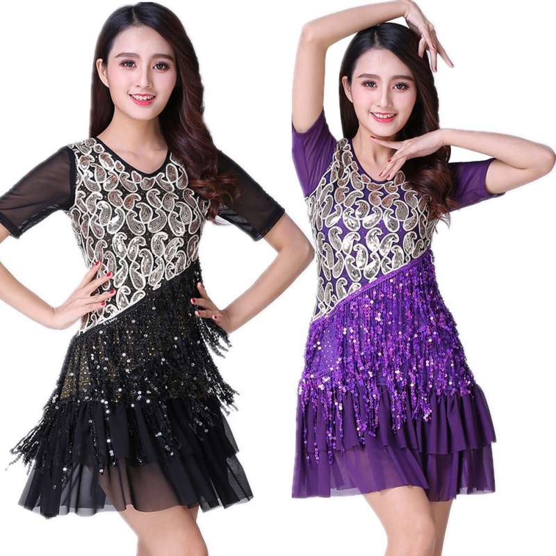 Top Latin Ballroom Dance Dress Fringe Sequined M/L/XL/2XL/3XL Two Color Black Blue Lady Latin Dance Clothers