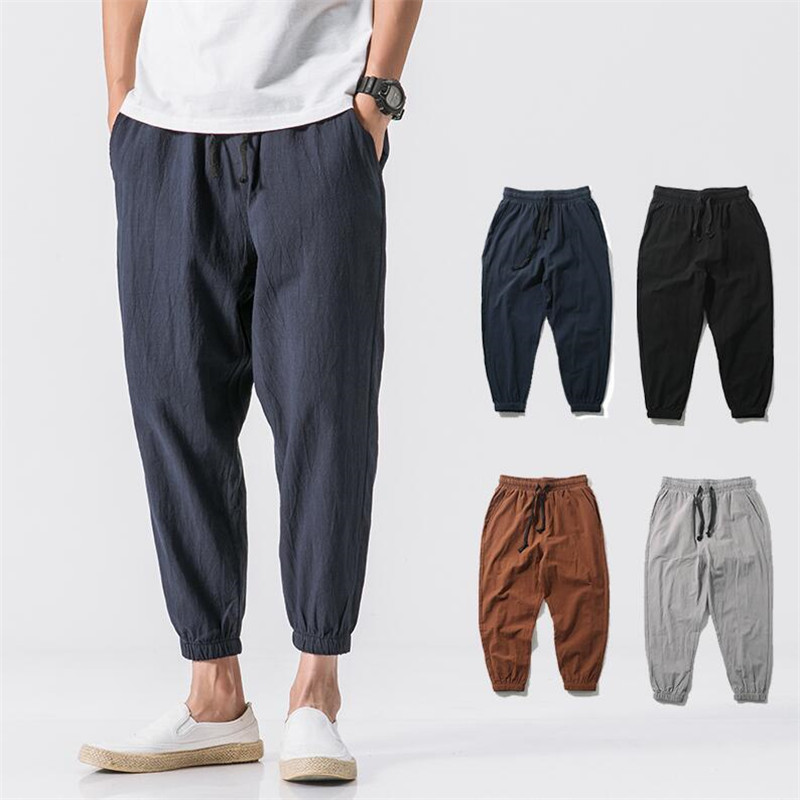 Male Pants Waist-Trousers Linen Elastic Plus-Size Summer Cotton Casual 6XL Breathable