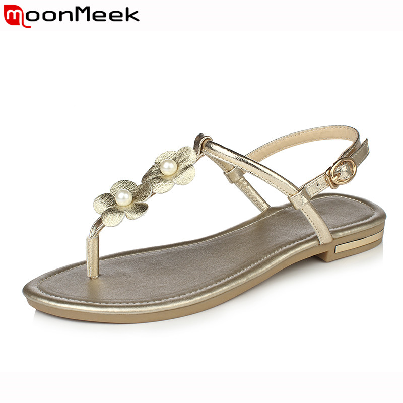 MoonMeek Women sandals 2018 summer fashion genuine leather shoes woman flat flop flops flower plus size 34-43 black white goldMoonMeek Women sandals 2018 summer fashion genuine leather shoes woman flat flop flops flower plus size 34-43 black white gold