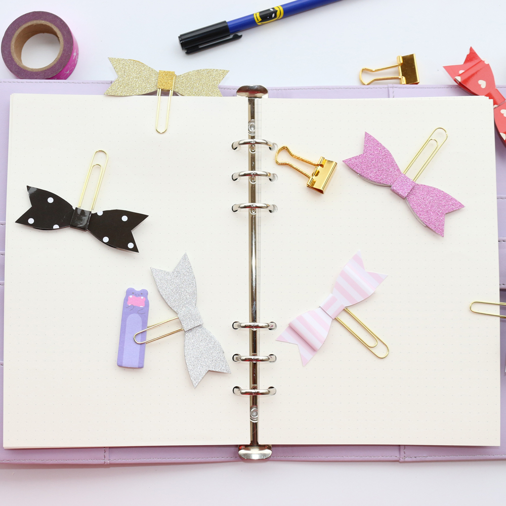 Domikee New Original Creative Handmade Bow Tie Office School Paper Clips Set Stationery,4 Pieces/set