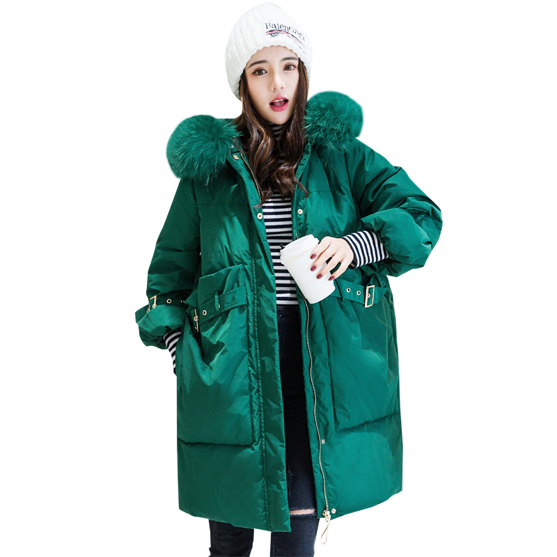 Korean Style Women Winter Middle Long White Duck   Down     Coat   Female Loose Warm Thicken Real Raccoon Fur Collar Hooded Jackets D26