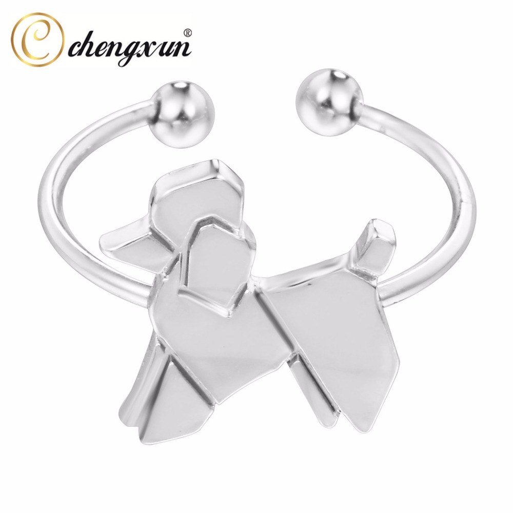 CHENGXUN Cute Open Finger Rings Small Dog Animal Wrap Rings High Polished Lead Nickel Free Rings