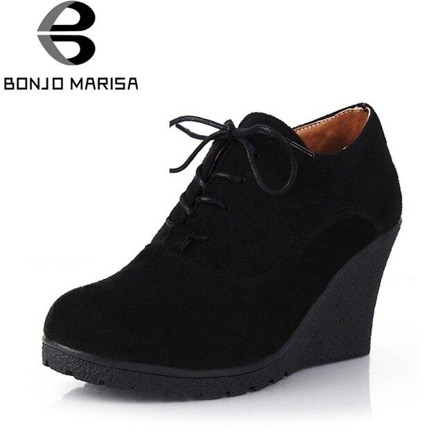 BONJOMARISA מכירה לוהטת גבוהה העקב טריזי פלטפורמת משאבות נשים תחרה עד נעליים יומיומיות אישה אופנה נוח באיכות גבוהה הנעלה