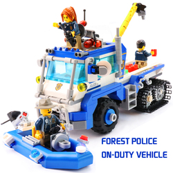 YETAA City Forest Police Vehicle Boats Toys Model Building Blocks Gift Toys Legofigure Bricks Minecraft Blocks Toys For Children