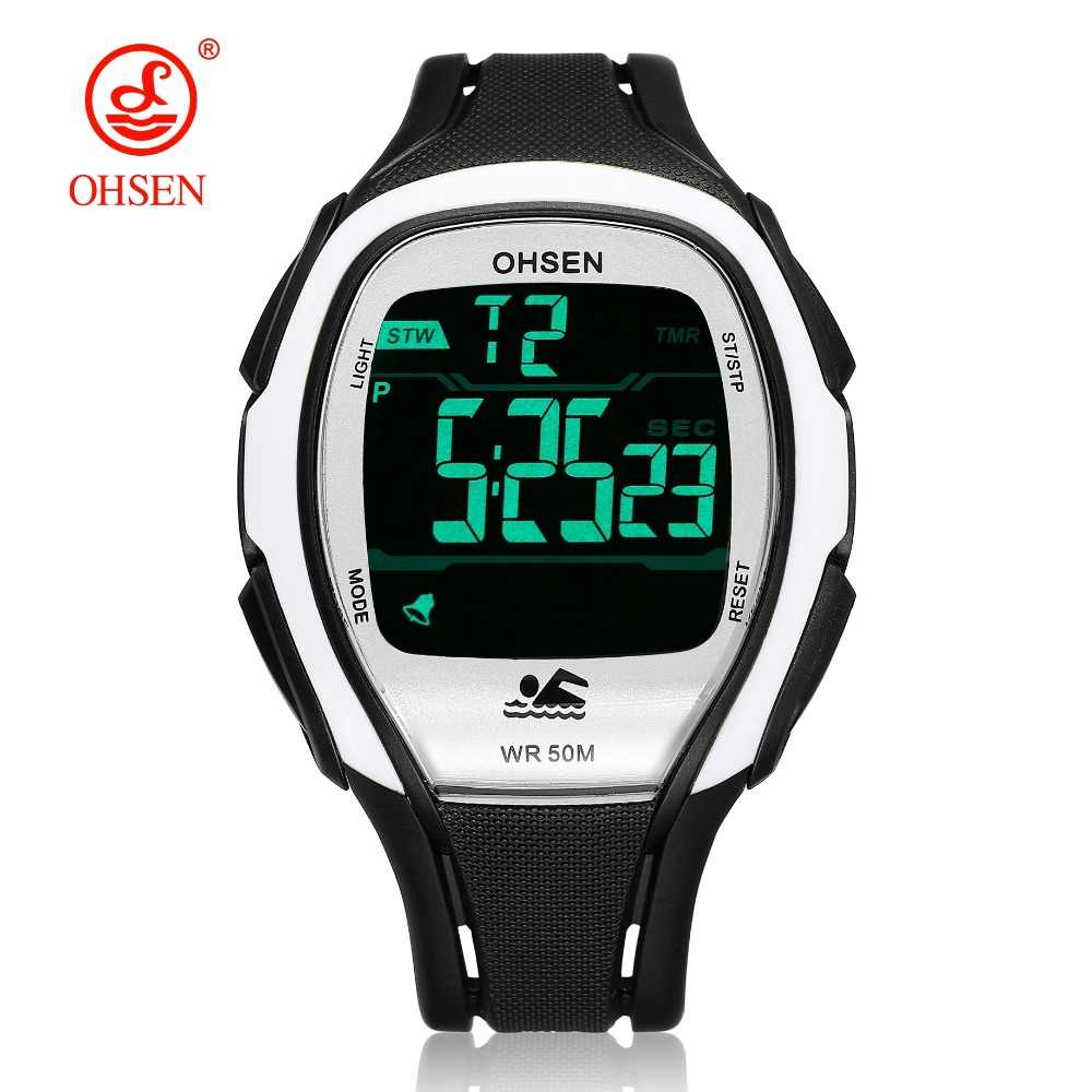 2018 OHSEN digital LCD Mens Wristwatches Gifts 50M Diving rubber strap Date Alarm Stopwatch White fashion outdoor sport Watch