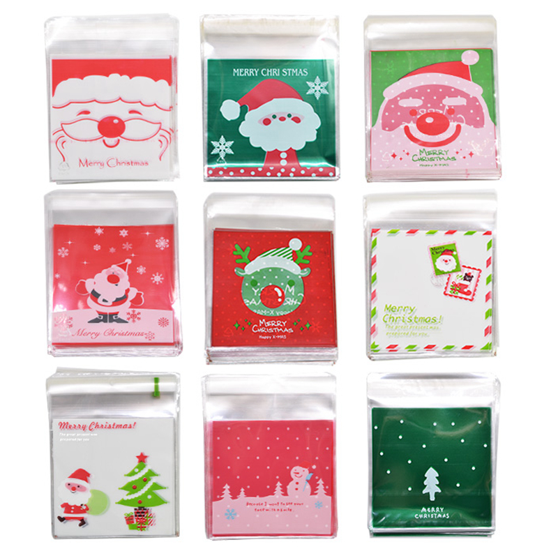 50Pcs 10x10cm Christmas Candy Cookie Gift Bags Plastic Self-adhesive Biscuits Snack Packaging Bags Xmas Party Decoration Favors 50Pcs 10x10cm Christmas Candy Cookie Gift Bags Plastic Self-adhesive Biscuits Snack Packaging Bags Xmas Party Decoration Favors