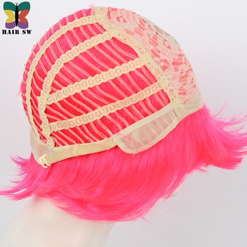 Σύντομη ρόδινη ζεστή ροζ περούκα - Συνθετικά μαλλιά - Φωτογραφία 6