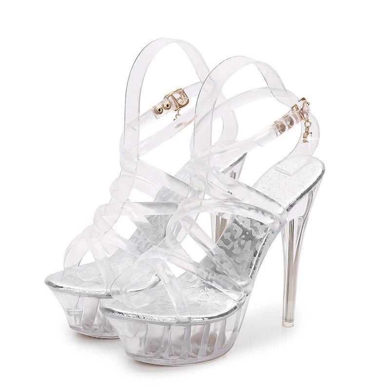 Women Platform Sandals 14cm Clear High Heels Peep Toe Summer Women  Transparent Sandals Shoes Cross Strap Stiletto Women Sandals-in High Heels  from Shoes on ... 4908e080de94